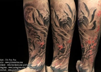 Oriental lotus and cherry blossom tattoo .