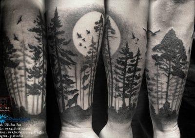 dark forest silhouette